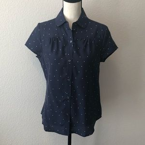 Lands' End Canvas Silk Polka Dot SS Blouse
